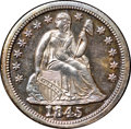 Proof Seated Dimes, 1845 10C PR65 NGC. CAC. Fortin-109, R.7....