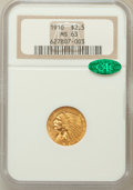 Indian Quarter Eagles: , 1910 $2 1/2 MS63 NGC. CAC. NGC Census: (1322/958). PCGS Population(678/494). Mintage: 492,000. Numismedia Wsl. Price for p...