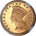 Gold Dollars, 1881 G$1 MS66 Prooflike NGC. CAC....