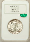 Walking Liberty Half Dollars: , 1944-S 50C MS65 NGC. CAC. NGC Census: (1233/198). PCGS Population(2538/417). Mintage: 8,904,000. Numismedia Wsl. Price for...