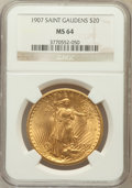Saint-Gaudens Double Eagles: , 1907 $20 Arabic Numerals MS64 NGC. NGC Census: (2070/809). PCGSPopulation (4302/2504). Mintage: 361,667. Numismedia Wsl. P...