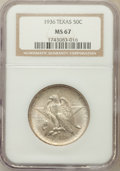 Commemorative Silver: , 1936 50C Texas MS67 NGC. NGC Census: (126/6). PCGS Population(126/7). Mintage: 8,911. Numismedia Wsl. Price for problem fr...