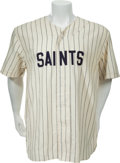 Baseball Collectibles:Uniforms, 2000 Mike DeFelice Game Worn Signed Tampa Bay Devil Rays St. Petersburg Saints Jersey....
