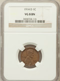 Lincoln Cents: , 1914-D 1C VG8 NGC. NGC Census: (347/2702). PCGS Population(460/4573). Mintage: 1,193,000. Numismedia Wsl. Price for proble...