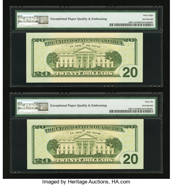 Broken Ladder Fancy Serial Number Notes   Fr  2095-C $20