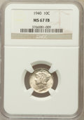 Mercury Dimes: , 1940 10C MS67 Full Bands NGC. NGC Census: (322/6). PCGS Population(338/24). Mintage: 65,361,828. Numismedia Wsl. Price for...