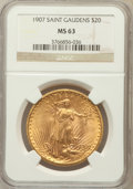 Saint-Gaudens Double Eagles: , 1907 $20 Arabic Numerals MS63 NGC. NGC Census: (2693/2879). PCGSPopulation (3705/6806). Mintage: 361,667. Numismedia Wsl. ...