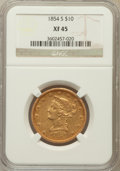 Liberty Eagles: , 1854-S $10 XF45 NGC. NGC Census: (95/279). PCGS Population(87/118). Mintage: 123,826. Numismedia Wsl. Price for problem fr...