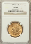 Indian Eagles: , 1916-S $10 AU55 NGC. NGC Census: (84/693). PCGS Population(95/723). Mintage: 138,500. Numismedia Wsl. Price for problem fr...
