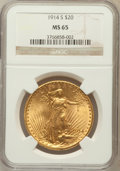 Saint-Gaudens Double Eagles: , 1914-S $20 MS65 NGC. NGC Census: (1339/147). PCGS Population(1932/101). Mintage: 1,498,000. Numismedia Wsl. Price for prob...