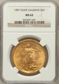 Saint-Gaudens Double Eagles: , 1907 $20 Arabic Numerals MS62 NGC. NGC Census: (3144/5572). PCGSPopulation (2358/10511). Mintage: 361,667. Numismedia Wsl....