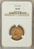 Indian Half Eagles: , 1912-S $5 AU58 NGC. NGC Census: (529/242). PCGS Population(143/173). Mintage: 392,000. Numismedia Wsl. Price for problem f...