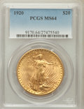 Saint-Gaudens Double Eagles: , 1920 $20 MS64 PCGS. PCGS Population (807/1). NGC Census: (399/7).Mintage: 228,250. Numismedia Wsl. Price for problem free ...