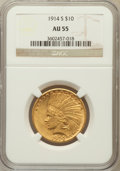 Indian Eagles: , 1914-S $10 AU55 NGC. NGC Census: (121/752). PCGS Population(89/635). Mintage: 208,000. Numismedia Wsl. Price for problem f...