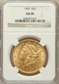 Liberty Double Eagles: , 1905 $20 AU58 NGC. NGC Census: (197/468). PCGS Population (91/457).Mintage: 58,900. Numismedia Wsl. Price for problem free...