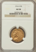 Indian Half Eagles: , 1916-S $5 AU58 NGC. NGC Census: (611/952). PCGS Population(221/797). Mintage: 240,000. Numismedia Wsl. Price for problem f...
