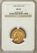 Indian Half Eagles: , 1908 $5 MS62 NGC. NGC Census: (2640/2039). PCGS Population(1811/2156). Mintage: 577,800. Numismedia Wsl. Price for problem...
