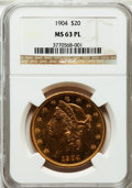Liberty Double Eagles: , 1904 $20 MS63 Prooflike NGC. NGC Census: (193/61). Mintage:6,256,797. ...