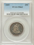 Proof Seated Quarters: , 1859 25C PR63 PCGS. PCGS Population (43/63). NGC Census: (36/90).Mintage: 800. Numismedia Wsl. Price for problem free NGC/...