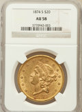 Liberty Double Eagles: , 1874-S $20 AU58 NGC. NGC Census: (1200/589). PCGS Population(296/414). Mintage: 1,214,000. Numismedia Wsl. Price for probl...