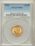 Liberty Quarter Eagles: , 1904 $2 1/2 MS67 PCGS. PCGS Population (43/1). NGC Census: (100/5).Mintage: 160,700. Numismedia Wsl. Price for problem fre...