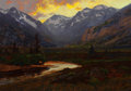American:Western, CHARLES PARTRIDGE ADAMS (American, 1858-1942). Moraine Park atSunset, Estes Colorado. Oil on canvas. 20 x 14 inches (50...