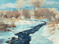 American:Western, ROBERT DAUGHTERS (American, b. 1929). Winter Creekside. Oilon canvas. 12 x 16 inches (30.5 x 40.6 cm). Signed lower rig...