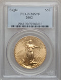 Modern Bullion Coins, 2002 G$50 One-Ounce Gold Eagle MS70 PCGS....