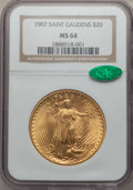 Saint-Gaudens Double Eagles, 1907 $20 Arabic Numerals MS64 NGC. CAC....