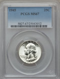 Washington Quarters, 1945 25C MS67 PCGS....