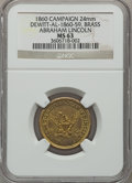 U.S. Presidents & Statesmen, (1860) Abraham Lincoln MS63 NGC. DeWitt-AL-1860-11. Brass, 24mm....