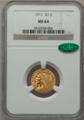 Indian Quarter Eagles, 1911 $2 1/2 MS64 NGC. CAC....