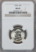 Washington Quarters: , 1932 25C MS65 NGC. NGC Census: (345/92). PCGS Population (518/171).Mintage: 5,404,000. Numismedia Wsl. Price for problem f...