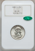 Washington Quarters: , 1938-S 25C MS65 NGC. CAC. NGC Census: (452/291). PCGS Population(808/400). Mintage: 2,832,000. Numismedia Wsl. Price for p...
