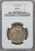 Walking Liberty Half Dollars: , 1916-D 50C AU55 NGC. NGC Census: (41/1233). PCGS Population(124/1558). Mintage: 1,014,400. Numismedia Wsl. Price for probl...