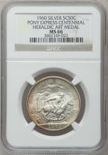 20th Century Tokens and Medals, 1960 Pony Express Centennial Heraldic Art Medal MS66 NGC. Silver so-called half dollar....