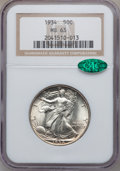 Walking Liberty Half Dollars: , 1934 50C MS63 NGC. CAC. NGC Census: (288/1645). PCGS Population(572/2349). Mintage: 6,964,000. Numismedia Wsl. Price for p...