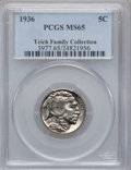 Buffalo Nickels: , 1936 5C MS65 PCGS. Ex: Teich Family Collection. PCGS Population(2142/1240). NGC Census: (919/1117). Mintage: 119,001,424. ...