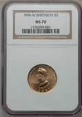 Modern Issues, 1996-W G$5 Smithsonian Gold Five Dollar MS70 NGC....