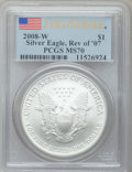 Modern Bullion Coins, 2008-W $1 Reverse of 2007 Silver Eagle, First Strike MS70 PCGS....