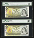 Canadian Currency: , BC-46a $1 1973 Ladder Set. ... (Total: 2 notes)