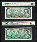 Canadian Currency: , BC-45aS $1 1967 and BC-45bS $1 1967 Specimen Pair. ... (Total: 2notes)