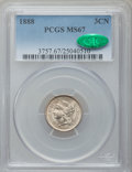 Three Cent Nickels, 1888 3CN MS67 PCGS. CAC....