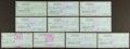Football Collectibles:Others, Bob Waterfield Signed Checks Lot of 10. ...