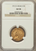 Indian Half Eagles, 1913-S $5 Weak S AU58 NGC. NGC Census: (647/381). PCGS Population(176/308). Mintage: 408,000. Numismedia Wsl. Price for pr...