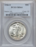 Walking Liberty Half Dollars: , 1936-S 50C MS64 PCGS. PCGS Population (727/905). NGC Census:(436/612). Mintage: 3,884,000. Numismedia Wsl. Price for probl...