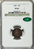 Proof Seated Dimes, 1867 10C PR65 NGC. CAC....