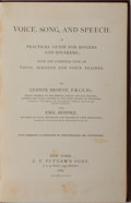 Books:Music & Sheet Music, Lennox Browne and Emil Behnke. Voice, Song, and Speech: A Practical Guide for Singers and Speakers. G. P. Putnam...