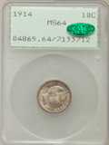 Barber Dimes: , 1914 10C MS64 PCGS. CAC. PCGS Population (292/197). NGC Census:(266/183). Mintage: 17,360,656. Numismedia Wsl. Price for p...