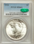 Peace Dollars: , 1922 $1 MS66+ PCGS. CAC. PCGS Population (586/21). NGC Census:(1376/36). Mintage: 51,737,000. Numismedia Wsl. Price for pr...